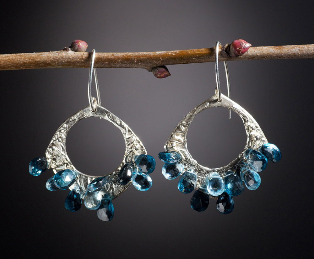 .999 Fine Silver London Blue-Topaz-Swiss Blue Topaz Hoop Earrings